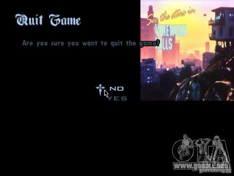 El menú principal en el estilo de GTA 5 para GTA San Andreas sucesivamente de pantalla
