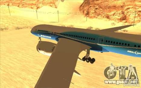 Boeing 787 Dreamlinear para GTA San Andreas vista posterior izquierda