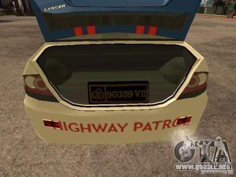 Mitsubishi Lancer Police Indonesia para GTA San Andreas vista hacia atrás