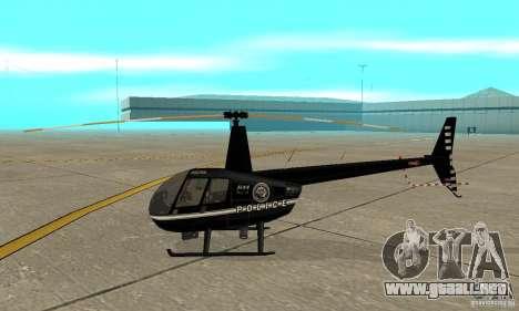 Robinson R44 Raven II NC 1.0 negro para GTA San Andreas vista posterior izquierda