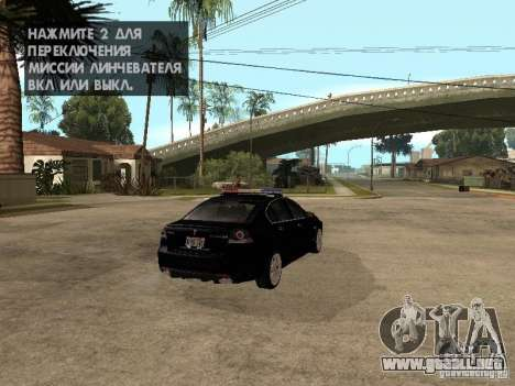 Pontiac G8 GXP Police v2 para GTA San Andreas vista posterior izquierda