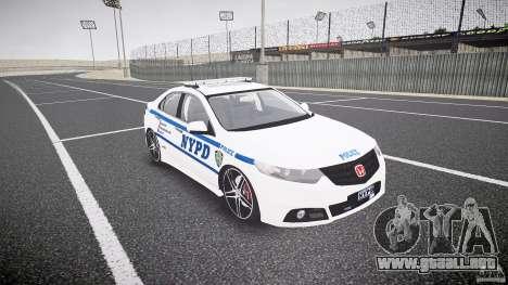 Honda Accord Type R NYPD (City Patrol 1090) ELS para GTA 4 vista hacia atrás