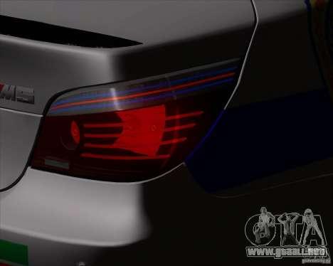 BMW M5 E60 policía para GTA San Andreas vista hacia atrás