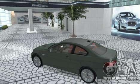 BMW M3 E92 Stock para GTA San Andreas vista hacia atrás