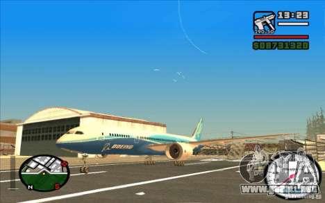 Boeing 787 Dreamlinear para GTA San Andreas left