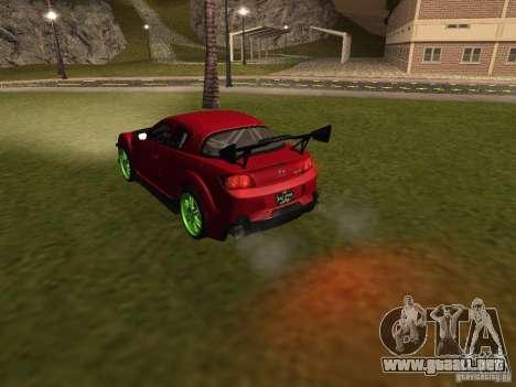 Mazda RX-8 R3 Tuned 2011 para vista inferior GTA San Andreas
