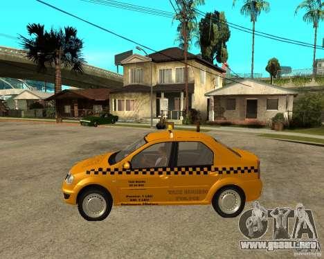 Dacia Logan Taxi Bucegi para GTA San Andreas left