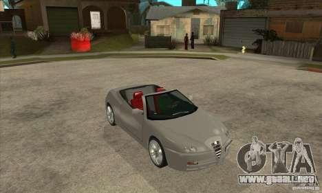 Alfa Romeo Spyder para GTA San Andreas vista hacia atrás
