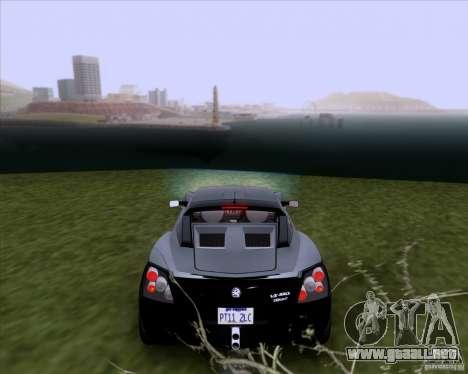Vauxhall VX220 Turbo para GTA San Andreas vista posterior izquierda
