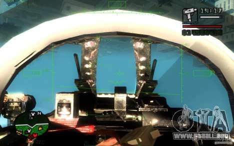 F 86 Sabre para GTA San Andreas vista hacia atrás