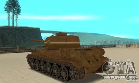 Tanque T-34 para GTA San Andreas vista posterior izquierda