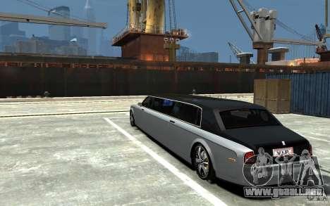 Rolls-Royce Phantom Sapphire Limousine v.1.2 para GTA 4 Vista posterior izquierda