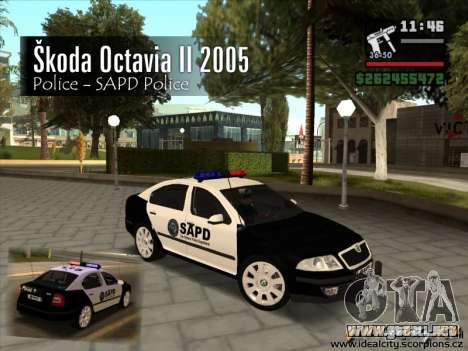 Skoda Octavia II 2005 SAPD POLICE para GTA San Andreas