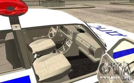 Coche de policía VAZ 2107 DPS para GTA San Andreas vista posterior izquierda