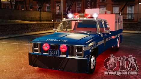 GMC C3500 NYPD ESU para GTA 4 vista hacia atrás