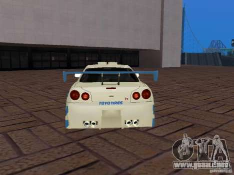 Nissan Skyline GT-R R34 Tunable para vista inferior GTA San Andreas