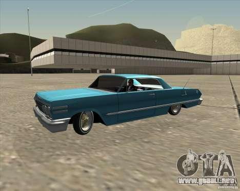 Chevrolet Impala 1963 lowrider para vista lateral GTA San Andreas