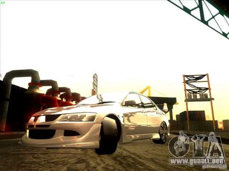 Mitsubishi Lancer Evolution VIII Full Tunable para GTA San Andreas vista posterior izquierda