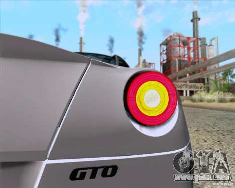 Ferrari 599 GTO 2011 v2.0 para GTA San Andreas vista hacia atrás