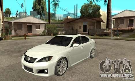 Lexus IS F 2009 para GTA San Andreas left