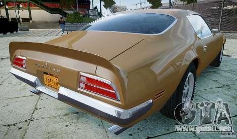 Pontiac Firebird 1970 para GTA 4 Vista posterior izquierda