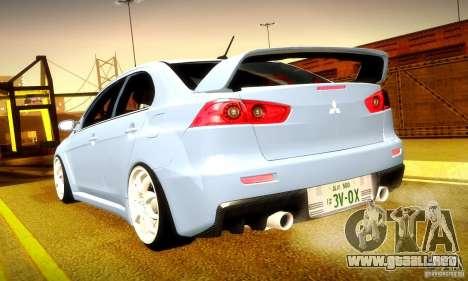 Mitsubishi Lancer Evolution X para GTA San Andreas interior