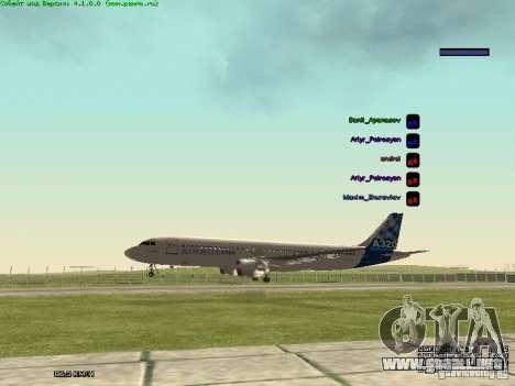 Airbus A320-300 para la visión correcta GTA San Andreas