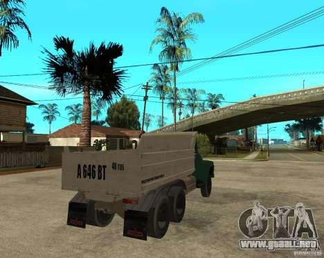 Camión ZIL 133 para GTA San Andreas vista posterior izquierda