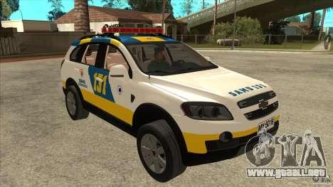 Chevrolet Captiva Police para GTA San Andreas vista hacia atrás