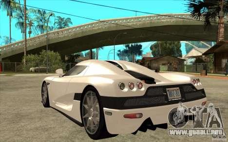 Koenigsegg CCX - Stock para GTA San Andreas vista posterior izquierda