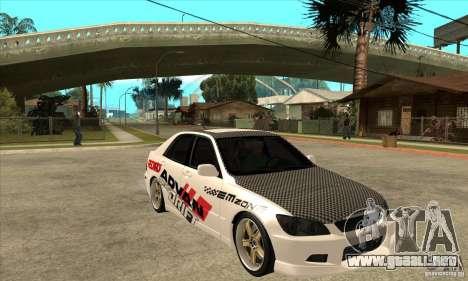 Lexus IS300 Tunable para GTA San Andreas vista hacia atrás