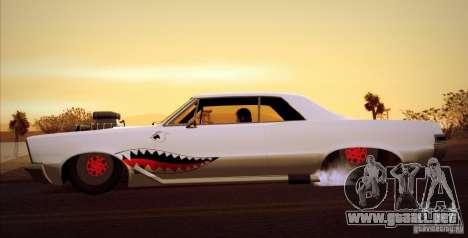 Pontiac GTO Drag Shark para GTA San Andreas vista posterior izquierda