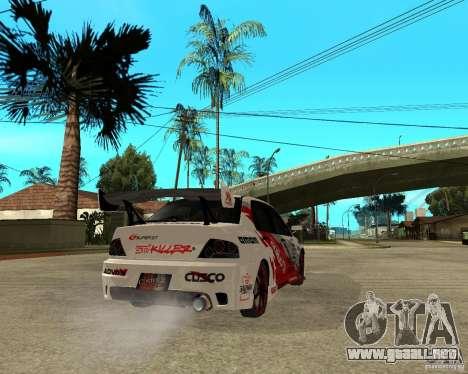 Lancer Evolution VIII, los estadounidenses inter para GTA San Andreas vista posterior izquierda