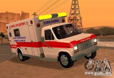 Ford Econoline Ambulance para GTA San Andreas vista posterior izquierda