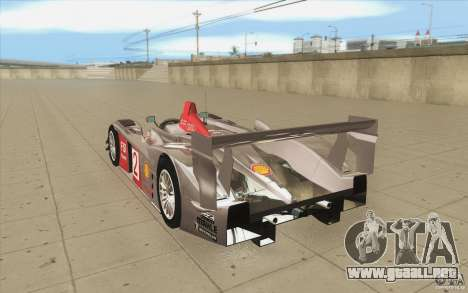 Audi R10 LeMans - Stock para GTA San Andreas vista posterior izquierda
