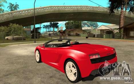 Lamborghini Gallardo LP560 Spider para GTA San Andreas vista posterior izquierda