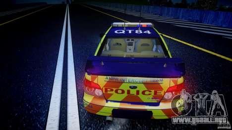 Subaru Impreza WRX Police [ELS] para GTA 4 vista desde abajo