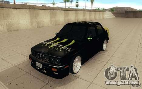 BMW E30 323i para GTA San Andreas vista hacia atrás
