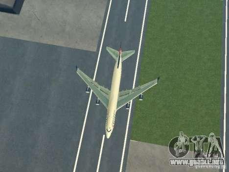 Boeing 747-400 Delta Airlines para GTA San Andreas vista hacia atrás