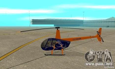 Robinson R44 Raven II NC 1.0 piel 3 para GTA San Andreas vista posterior izquierda