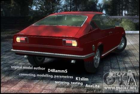 Audi 100 Coupe S 1974 para GTA 4 left