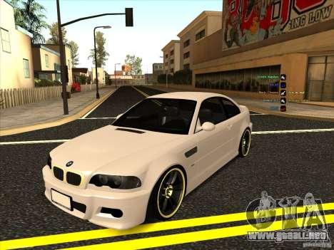 BMW M3 para GTA San Andreas vista hacia atrás