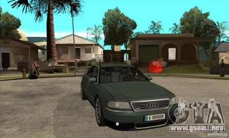 Audi A8 Long 6.0 2000 para GTA San Andreas vista hacia atrás