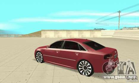 Audi A8L 4.2 FSI para GTA San Andreas vista hacia atrás