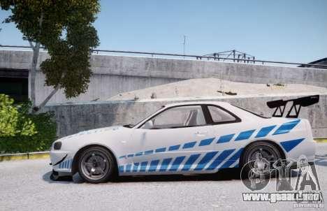 Nissan Skyline GT-R R34 2F2F para GTA 4 left
