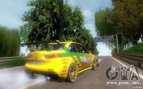 Mitsubishi Lancer Evolution X Gymkhana para GTA San Andreas vista posterior izquierda