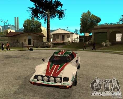Lancia Stratos para GTA San Andreas vista hacia atrás
