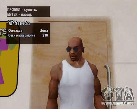 Azules gafas de aviador para GTA San Andreas sexta pantalla
