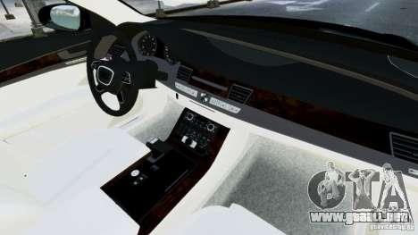 Audi A8 LED 2012 para GTA 4 vista desde abajo