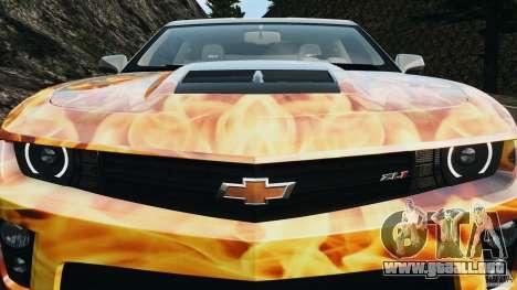 Chevrolet Camaro ZL1 2012 v1.0 Flames para GTA 4 ruedas